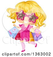 Clipart Of A Happy Blond White Girl Wearing Star Sunglasses And Carrying Shopping Bags Royalty Free Vector Illustration