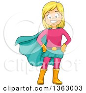 Happy Blond White Super Hero Girl Posing In A Pink And Turquoise Suit