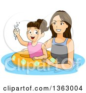 Clipart Of A Happy Brunette Caucasian Mother Teaching Her Daughter How To Swim With An Inner Tube Royalty Free Vector Illustration