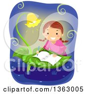 Clipart Of A Happy Brunette White School Girl Writing A Book On A Leaf Table Royalty Free Vector Illustration by BNP Design Studio