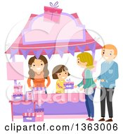 Clipart Of A Happy Brunette White Girl Selling A Gift To A Couple At A Booth Royalty Free Vector Illustration