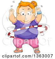Clipart Of A Chubby Determined Red Haired White Girl Exercising With A Hula Hoop Royalty Free Vector Illustration by BNP Design Studio
