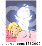 Clipart Of A Blond White Girl Dreaming With An Angel Watching Over Her Royalty Free Vector Illustration