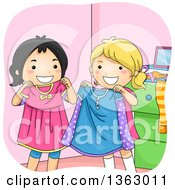 Clipart Of Happy Asian And White Girls Swapping Clothes Royalty Free Vector Illustration