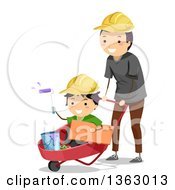 Happy Father Wearing A Hard Hat Pushing His Son In A Wheelbarrow With Paint