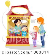 Clipart Of A Mother And Daughter Purchasing Candy From A Booth Royalty Free Vector Illustration