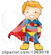 Clipart Of A Happy Red Haired Caucasian Super Hero Boy Royalty Free Vector Illustration