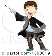 Clipart Of A Happy Brunette White Male Wizard Pointing A Wand Royalty Free Vector Illustration by BNP Design Studio