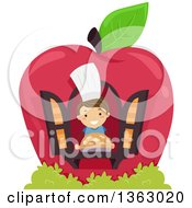 Clipart Of A Happy Brunette White Boy Holding A Pie In The Window Of An Apple House Royalty Free Vector Illustration by BNP Design Studio