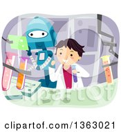 Clipart Of A Boy And Robot Working On A Science Project Royalty Free Vector Illustration