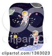 Clipart Of Caucasian Boy Astronauts Taking Pictures In Outer Space Royalty Free Vector Illustration