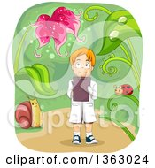 Clipart Of A Red Haired White Biologist Boy Gazing Up At A Flower And Taking Notes Royalty Free Vector Illustration by BNP Design Studio