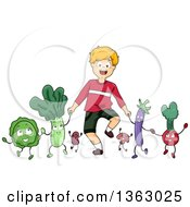Happy Caucasian Boy Holding Hands And Walking With Vegetable Characters