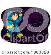 Happy Astronaut Boy Pointing To A Constellation In Outer Space
