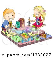 Clipart Of A Boy And Girl Playing With A Toy City Royalty Free Vector Illustration