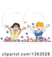 Clipart Of A Happy Black Girl And White Boy Playing In A Ball Pit Royalty Free Vector Illustration