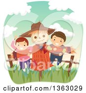 Clipart Of A Boy And Girl Playing On A Scarecrow Royalty Free Vector Illustration by BNP Design Studio