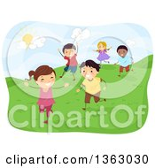 Clipart Of Happy Children Running On A Hill On A Sunny Day Royalty Free Vector Illustration