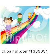 Clipart Of Children Riding Bicycles On A Rainbow Road In The Sky Royalty Free Vector Illustration