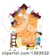 Group Of Happy Children Building A Life Size Gingerbread House