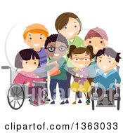 Clipart Of A Group Of Handicap Children And A Female Nurse Posing For A Picture Royalty Free Vector Illustration