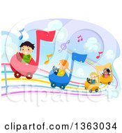 Group Of Children Driving Music Notes Cards On A Rainbow Staff
