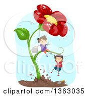 Clipart Of A White Boy And Girl Playing On And Watering A Giant Red Daisy Flower Plant Royalty Free Vector Illustration