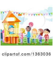 Clipart Of A Boy Selling Tickets To Children At A Carnival Booth Royalty Free Vector Illustration