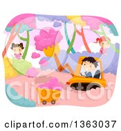 Clipart Of Children Farming And Harvesting Cotton Candy Royalty Free Vector Illustration