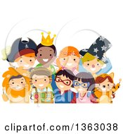 Clipart Of A Group Of Happy Children In Costumes Royalty Free Vector Illustration