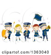 Clipart Of A Marching Band Of Children Playing Musical Instruments Royalty Free Vector Illustration