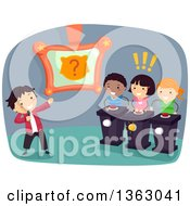 Clipart Of Kids Playing An Animal Themed Guessing Game Show Royalty Free Vector Illustration