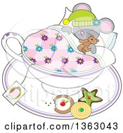 Clipart Of A Cartoon Gray Mouse Holding A Teddy Bear And Sleeping In A Tea Cup With Cookies On The Saucer Royalty Free Vector Illustration