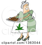 Cartoon Happy Chubby White Senior Woman Holding A Tray Of Fresly Baked Marijuana Brownies And Wearing A Pot Leaf Apron