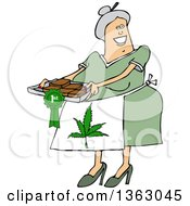 Cartoon Happy Chubby White Senior Woman Wearing A Pot Leaf Apron And Holding A Tray Of First Place Fresly Baked Marijuana Brownies