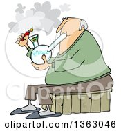 Cartoon Chubby White Senior Man Lighting A Bong To Smoke Weed