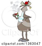 Poster, Art Print Of Cartoon Moose Smoking Pot With A Bong
