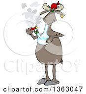 Clipart Of A Cartoon Moose Smoking Pot With A Bong Royalty Free Vector Illustration by Dennis Cox