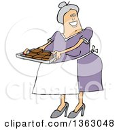 Clipart Of A Cartoon Happy Chubby White Senior Woman Holding A Tray Of Fresly Baked Brownies Royalty Free Vector Illustration