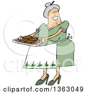 Cartoon Happy Chubby White Senior Woman Holding A Tray Of Fresly Baked Marijuana Brownies And Wearing An Apron With Pot Leaves