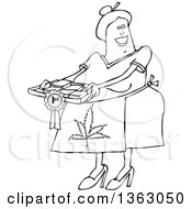 Cartoon Black And White Happy Chubby Senior Woman Wearing A Pot Leaf Apron And Holding A Tray Of First Place Fresly Baked Marijuana Brownies