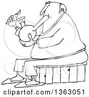 Poster, Art Print Of Cartoon Black And White Chubby Senior Man Lighting A Bong To Smoke Weed