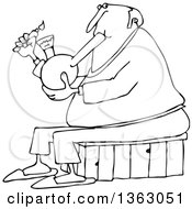 Clipart Of A Cartoon Black And White Chubby Senior Man Lighting A Bong To Smoke Weed Royalty Free Vector Illustration