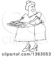Cartoon Black And White Happy Chubby Senior Woman Holding A Tray Of Fresly Baked Brownies