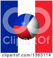 Clipart Of A 3d French Sphere Over A Flag Royalty Free Illustration