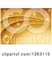 Clipart Of A Golden Background Of Snowflakes Dots And Stars On Waves With Text Space Royalty Free Vector Illustration