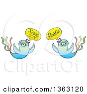 Clipart Of Colorful Birds Flying And Wishing Peace And Christmas Joy Royalty Free Vector Illustration