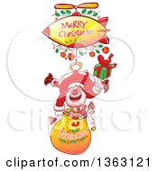 Clipart Of A Cartoon Santa Claus Hanging With A Gift Sack From A Zeppelin With A Merry Christmas Greeting Royalty Free Vector Illustration by Zooco
