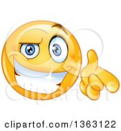 Clipart Of A Cartoon Cool Yellow Smiley Face Emoticon Emoji Grinning And Pointing At You Royalty Free Vector Illustration