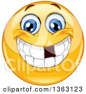 Clipart Of A Cartoon Yellow Smiley Face Emoticon Emoji Grinning And Showing A Missing Tooth Royalty Free Vector Illustration